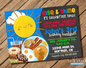 Breakfast Birthday Party Invitation, Pancakes and Pajamas Party, Pancake Birthday Party, Printable Birthday Party Invitation
