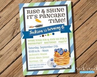 Pancakes & Pajamas Invitation, Pancake Party, Breakfast Party, Pajama Party Invitation, Printable Birthday Party Invitation