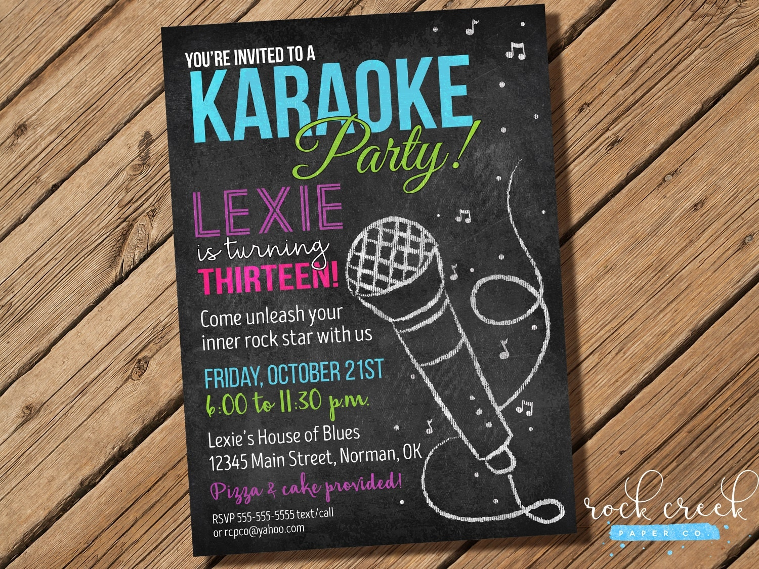 Karaoke Chalkboard Invitation Karaoke Birthday Party Karaoke – Kids Birthday Invitations Printable