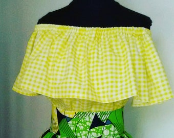 Gingham Off the Shoulder Ruffle Top...Choose a Print