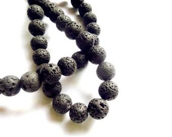 40 Black Lava Stone Beads - 8mm - 26-32-B
