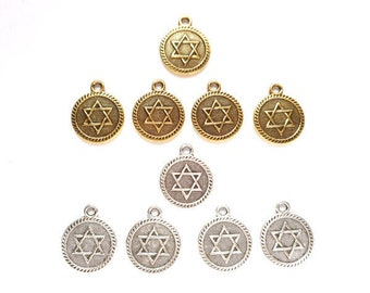 5 Antique Gold Or Antique Silver Star Of David Charms - 30-8