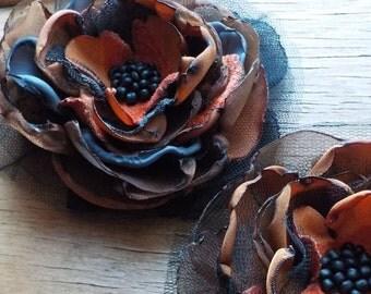 Large Black Brown and Caramel Flower Brooch by FairytaleFlower