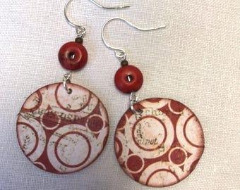 Modern Handmade Sterling Silver Paper Dangle Red Circles Print Earrings