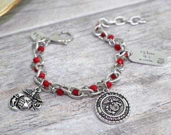 Marine Corps Charm Bracelet in Stainless Steel | USMC Bracelet | Marine Wife, Girlfriend, Mother Jewelry | Military Jewelry | Milso Jewelry