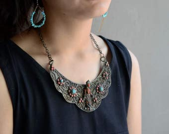 Antique Goddess necklace Red Tara Nepalese buddhist Tibetan vintage tribal ethnic bib bohemian coral glass and turquoise inlay filagree