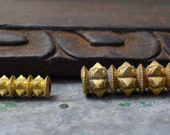 Golden focal beads traditional Nepalese Newari spiked brass supply for necklace pendant tribal pipe bead macrame dread