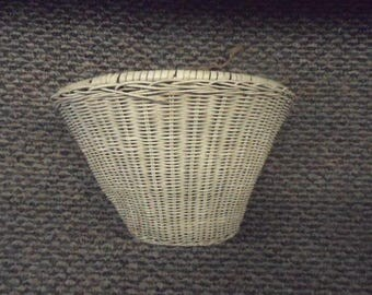 Vintage White Bicycle Basket Wood and Woven Vinyl Rattan Girl's Bike Accessory Flower Display Garden Wall Pocket Planter