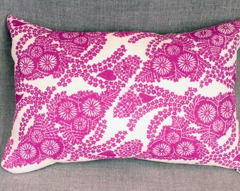 "Hand block printed linen pillow 11""x 17"" down/ feather ""Floral"" by Isabel Natti"