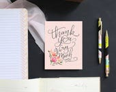 Thank You Very Much in Pink - Boxed Set of 8 A2 Note Card - Thank You Card - Pink - Hand Lettering - Illustration By Valerie McKeehan