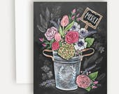 Merci Flower Bouquet - A2 Note Card - Chalkboard Art - Thank You Card - French - Flower Bouquet - Illustration by Valerie McKeehan
