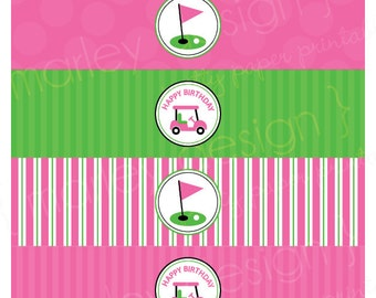 Girls Golf Party Decor Pink Golf Party Golf Party Water Bottle Wrappers Printable Drink Labels Golf Party Printables Golf Birthday Decor