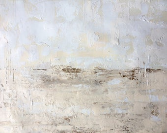 Original Fine Art Abstract Acrylic Painting Wall Art on Paper 9 x 12 inches cream white