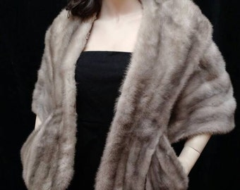Vintage Silver Mink Stole by W.M.Pinkus with pockets