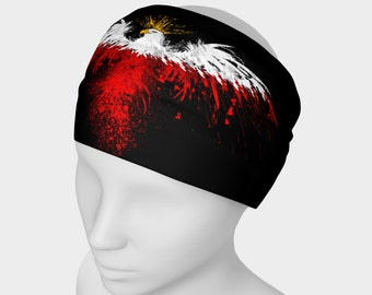 Polish eagle head bands - Headband with polish eagle printed on Micro knit fabric