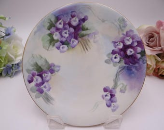 Vintage Jean Pouyat Limoges France Hand Painted Artist Signed Violets Small Plate c1891 - 1932