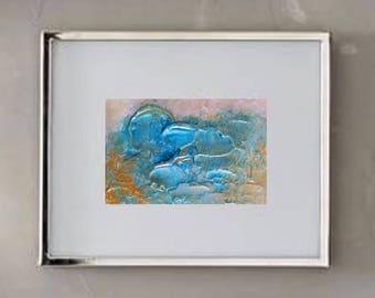 ACEO Artist Trading Card Metallic Gold Blue Heavy Texture Original Abstract Art Painting on Cardstock Modern Original Contemporary Artwork