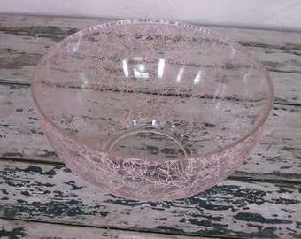 Vintage Mid Century Punch Bowl// Serving Bowl// Pink Splatter