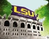 "LSU football stadium watercolor painting- 9"" x 12"" print"