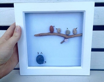 Pebble Art, Pebble Art Birds, Pebble Cat, Birds on Branch, Cat and Birds,