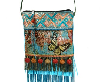 Ibiza purse small, butterfly bag small, Christmas gift women, fringed cross body small, festival purse handmade, fabric bags one of a kind