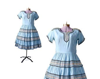 1950s/1960s Mexican Patio Dress Sky Blue Large