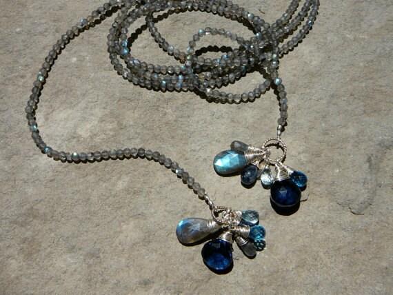 Labradorite Necklace, Labradorite Jewelry, Gemstone Necklace, Handmade Necklace, Lariat Necklace, Long Lariat Necklace, Long Necklace
