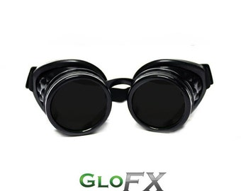 GloFX Black Steampunk Goggles With Comfort Padding Rave Welding Cyber Punk Goth Dieselpunk Glasses Desert Playa Goggles