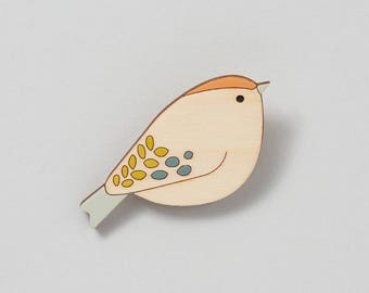 Wooden Bird Brooch - Goldcrest - Gift for Bird Lover