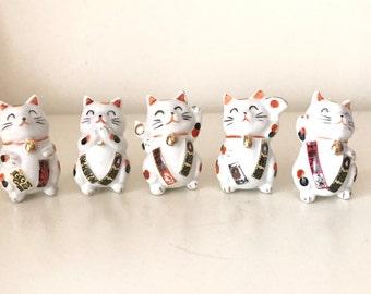 SALE- 5 Vintage Ceramic cute Lucky Cat Figurine
