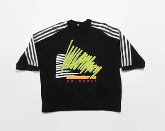 Vintage 80s Union Bay T-SHIRT / 1980s Neon Stripe Surf Style Boxy Tee Shirt