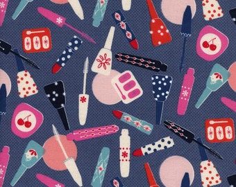 All Made Up by Melody Miller for Cotton + Steel Jubilee Fabric Make-Up Navy Blue Fabric Nail Polish Fabric Dark Blue Red Pink