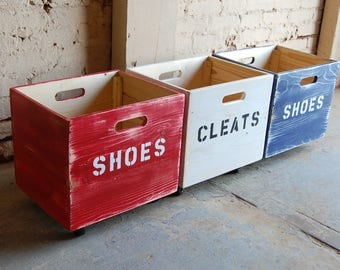 Set of Three Rolling Crate/ Wooden Crate/ Personalized/ Reclaimed/ Storage
