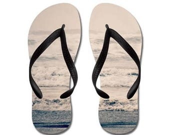 Flip Flops - A Gray Day on the Beach, Ocean, Nature Photography - RDelean