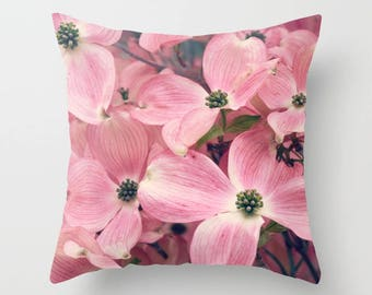 Home Decor, Decorative, Throw Pillow, Pink Dogwood, Beautiful, springtime, blooms, blossoms, tree branches, Nature Photography by RDelean