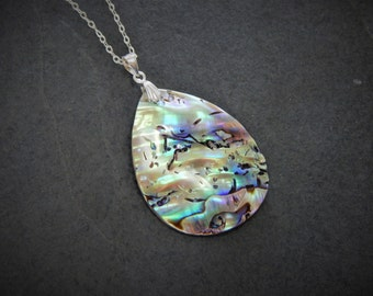 Sterling Silver Abalone/ Pāua Shell Pendant Necklace on 18 Inch Chain