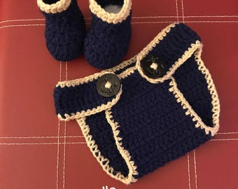 Crochet baby diaper cover with booties! (sale)