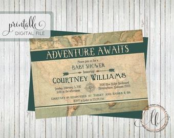 Travel Baby Shower Invitation - Boy Baby Shower Invitation - Vintage Map Baby Shower Invitation - Adventure Baby Shower - Printable