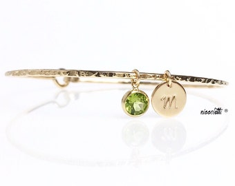 Genuine Peridot Charm Bracelet / Peridot Bangle / August Birthstone / Gemstone Stacking Bangles / Gifts for Her / Mothers Jewelry / 14k Gold