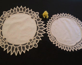 Two Large Battenberg Lace Doilies - Ecru, Beige
