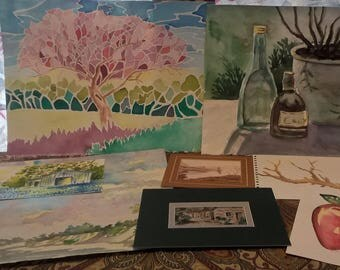 Grab Bag of Watercolor Art- Barns, landscapes, floral, fruit and other subjects. average size 9x12 inches and larger ONE DOLLAR SHIPPING