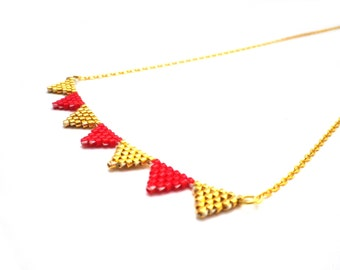 Sophie 147 necklace / / Miyuki and 24 k gold plated necklace beadwoven gold and Red / / gifts for her / / mother's day jewelry