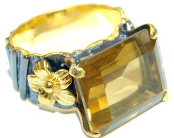 Citrine Sterling Silver Ring - weight 9.50g - Size 9 - dim L - 1 2, W - 5 8, T - 1 4 inch - code 13-gru-16-15