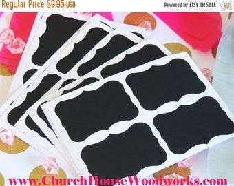SUPER WINTER SALE 100 Small Chalkboard Stickers, Blackboard Stickers, Vinyl Black Fancy Frame, Chalkboard Labels, Mason Jar Labels, Wedding