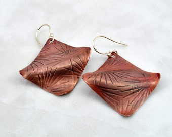Wavey Curvey Textured Square Copper Earrings