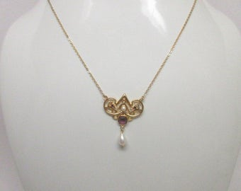 Beautiful Vintage Lavalier Amethyst and Pearl Necklace  Art Nouveau Revival