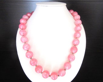 Moonglow Lucite Bead Necklace Bubble Gum Pink 18 - 20 Inches MOD 1960s