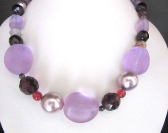 Chunky Necklace Frosted Glass Beads with Pearls & Polished Garnets 16 - 19.5 Inches