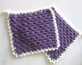 Two Vintage Pot Holders Hand Crochet Poly Yarn Purple & White 9 x 8