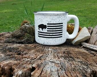 Buffalo flag ceramic campfire mug